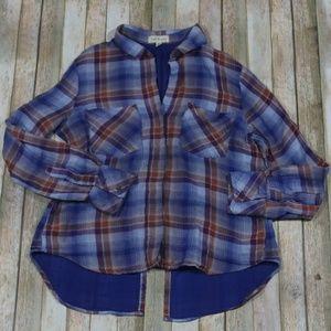 Cloth & Stone Button Down Shirt Split Back Plaid